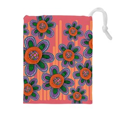 Colorful Floral Dream Drawstring Pouches (Extra Large)