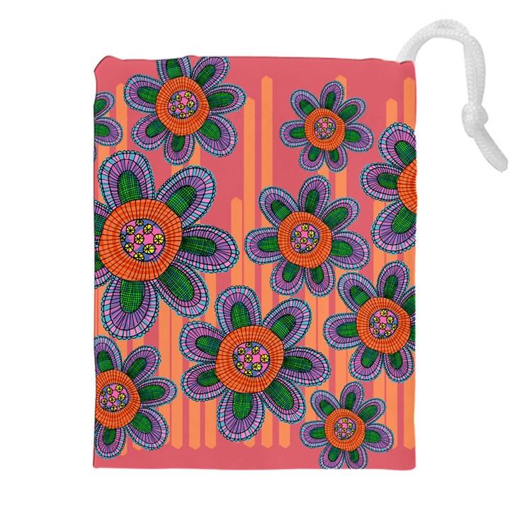 Colorful Floral Dream Drawstring Pouches (XXL)