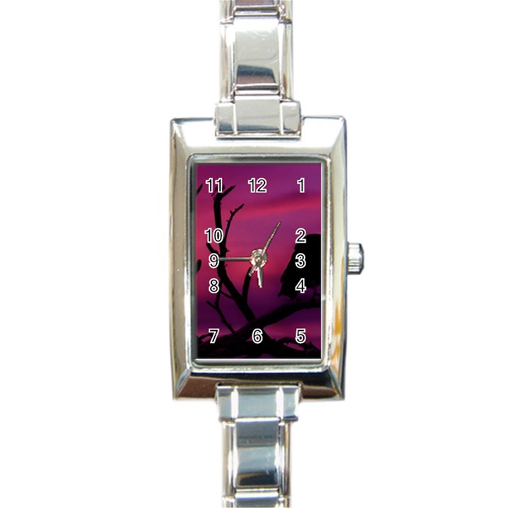 Vultures At Top Of Tree Silhouette Illustration Rectangle Italian Charm Watch
