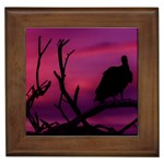 Vultures At Top Of Tree Silhouette Illustration Framed Tiles