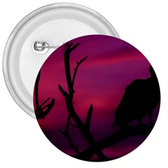 Vultures At Top Of Tree Silhouette Illustration 3  Buttons by dflcprints