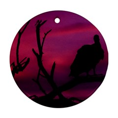 Vultures At Top Of Tree Silhouette Illustration Ornament (round)  by dflcprints