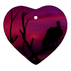 Vultures At Top Of Tree Silhouette Illustration Ornament (heart)  by dflcprints
