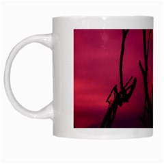 Vultures At Top Of Tree Silhouette Illustration White Mugs by dflcprints