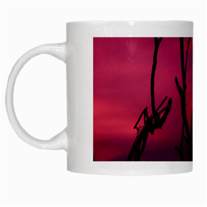 Vultures At Top Of Tree Silhouette Illustration White Mugs
