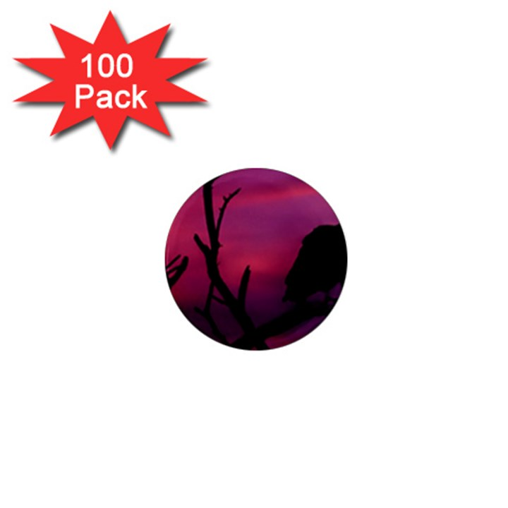 Vultures At Top Of Tree Silhouette Illustration 1  Mini Magnets (100 pack)