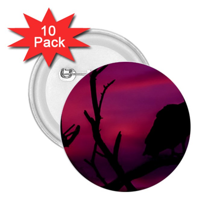 Vultures At Top Of Tree Silhouette Illustration 2.25  Buttons (10 pack)