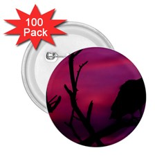 Vultures At Top Of Tree Silhouette Illustration 2 25  Buttons (100 Pack)  by dflcprints