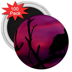 Vultures At Top Of Tree Silhouette Illustration 3  Magnets (100 pack)