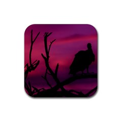 Vultures At Top Of Tree Silhouette Illustration Rubber Square Coaster (4 Pack)