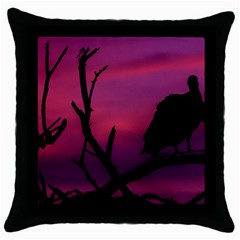 Vultures At Top Of Tree Silhouette Illustration Throw Pillow Case (black) by dflcprints