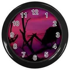 Vultures At Top Of Tree Silhouette Illustration Wall Clocks (black) by dflcprints