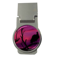 Vultures At Top Of Tree Silhouette Illustration Money Clips (Round)