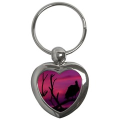 Vultures At Top Of Tree Silhouette Illustration Key Chains (heart)  by dflcprints