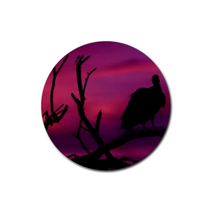Vultures At Top Of Tree Silhouette Illustration Rubber Round Coaster (4 pack)