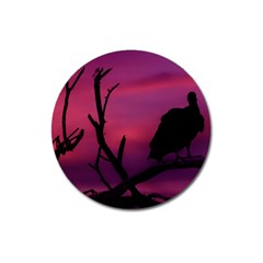 Vultures At Top Of Tree Silhouette Illustration Magnet 3  (round) by dflcprints