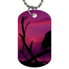 Vultures At Top Of Tree Silhouette Illustration Dog Tag (One Side)