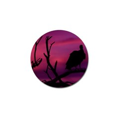 Vultures At Top Of Tree Silhouette Illustration Golf Ball Marker by dflcprints