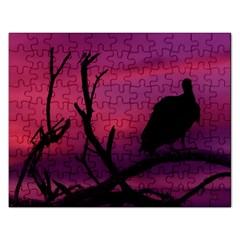 Vultures At Top Of Tree Silhouette Illustration Rectangular Jigsaw Puzzl by dflcprints