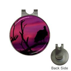 Vultures At Top Of Tree Silhouette Illustration Hat Clips With Golf Markers by dflcprints