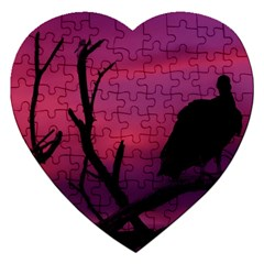 Vultures At Top Of Tree Silhouette Illustration Jigsaw Puzzle (heart) by dflcprints