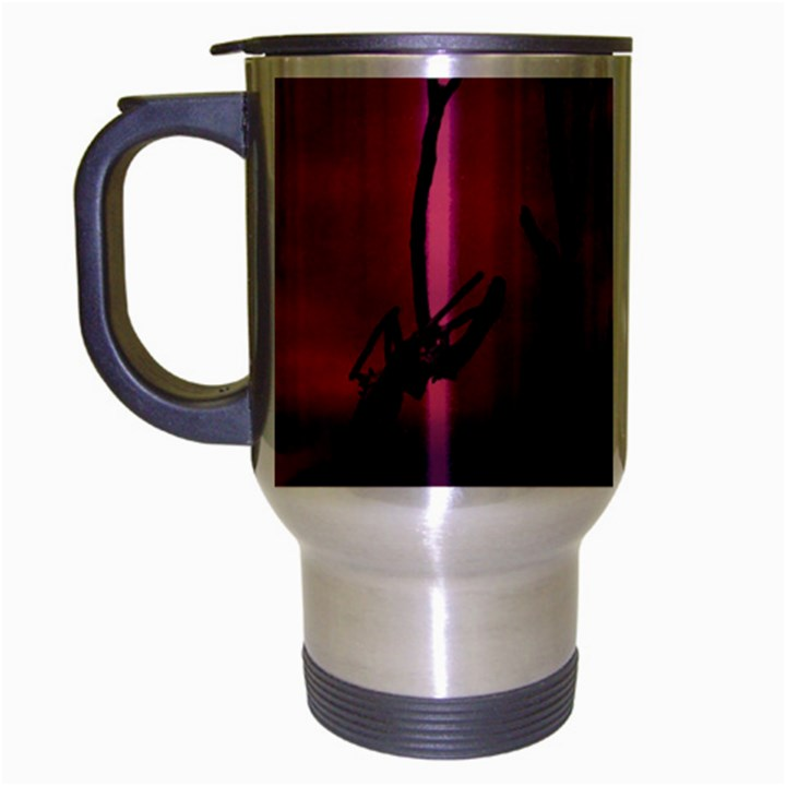 Vultures At Top Of Tree Silhouette Illustration Travel Mug (Silver Gray)