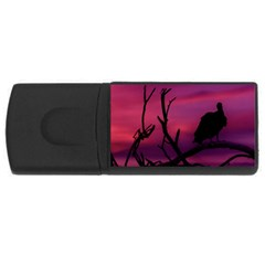 Vultures At Top Of Tree Silhouette Illustration Usb Flash Drive Rectangular (4 Gb)  by dflcprints