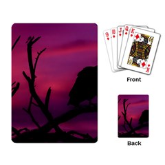Vultures At Top Of Tree Silhouette Illustration Playing Card by dflcprints