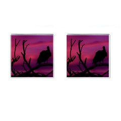 Vultures At Top Of Tree Silhouette Illustration Cufflinks (square) by dflcprints