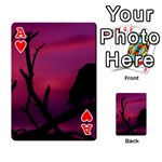 Vultures At Top Of Tree Silhouette Illustration Playing Cards 54 Designs  Front - HeartA