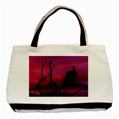 Vultures At Top Of Tree Silhouette Illustration Basic Tote Bag