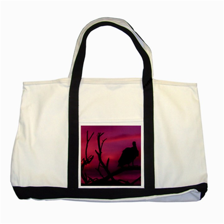 Vultures At Top Of Tree Silhouette Illustration Two Tone Tote Bag