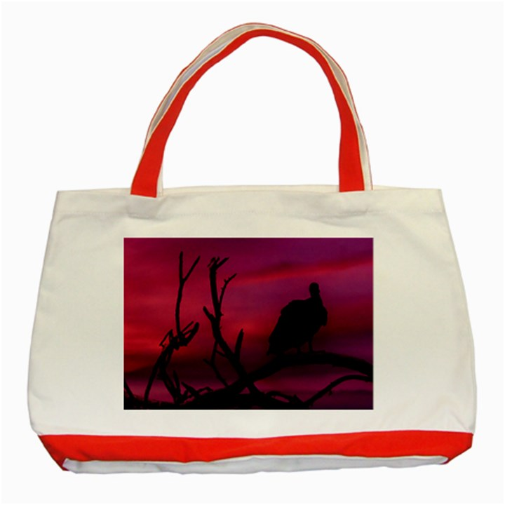 Vultures At Top Of Tree Silhouette Illustration Classic Tote Bag (Red)