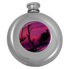 Vultures At Top Of Tree Silhouette Illustration Round Hip Flask (5 Oz) by dflcprints