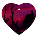 Vultures At Top Of Tree Silhouette Illustration Heart Ornament (2 Sides)