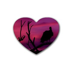 Vultures At Top Of Tree Silhouette Illustration Heart Coaster (4 pack)