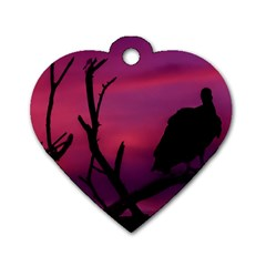 Vultures At Top Of Tree Silhouette Illustration Dog Tag Heart (one Side) by dflcprints