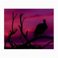 Vultures At Top Of Tree Silhouette Illustration Small Glasses Cloth (2 Side)