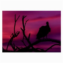 Vultures At Top Of Tree Silhouette Illustration Large Glasses Cloth (2 Side) by dflcprints