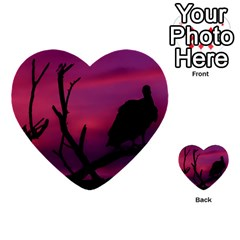 Vultures At Top Of Tree Silhouette Illustration Multi Purpose Cards (heart)  by dflcprints