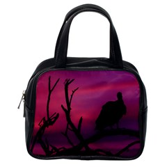 Vultures At Top Of Tree Silhouette Illustration Classic Handbags (one Side) by dflcprints