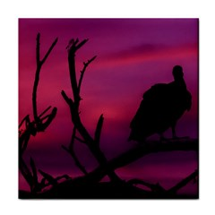 Vultures At Top Of Tree Silhouette Illustration Face Towel by dflcprints