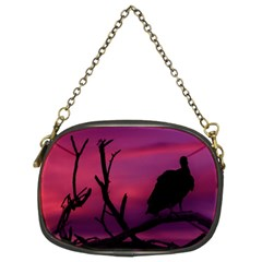 Vultures At Top Of Tree Silhouette Illustration Chain Purses (Two Sides)