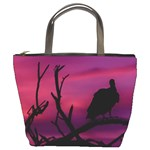 Vultures At Top Of Tree Silhouette Illustration Bucket Bags Front