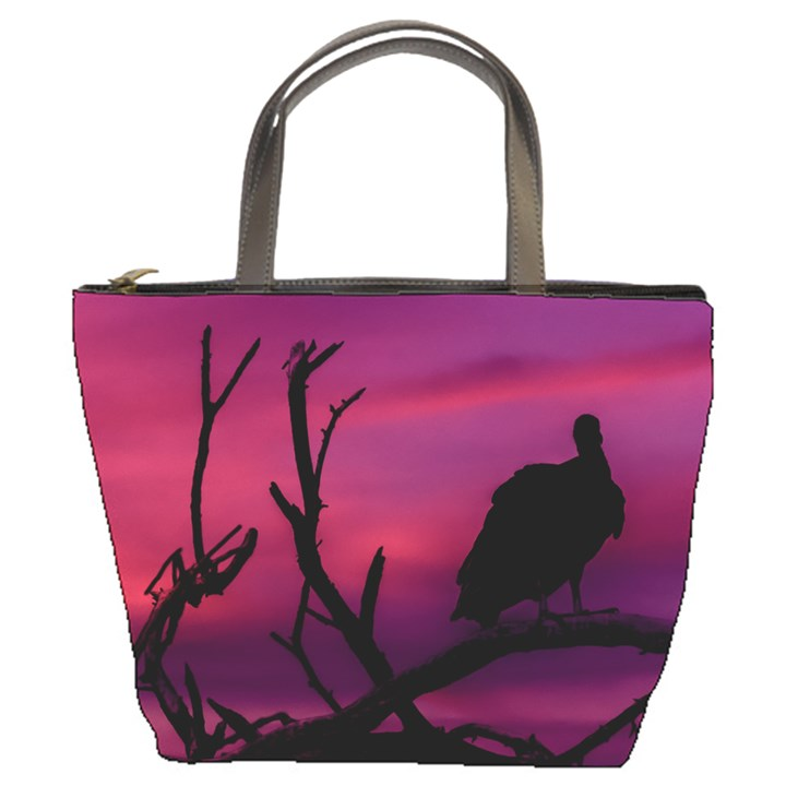 Vultures At Top Of Tree Silhouette Illustration Bucket Bags