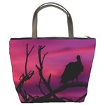 Vultures At Top Of Tree Silhouette Illustration Bucket Bags Back
