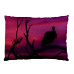 Vultures At Top Of Tree Silhouette Illustration Pillow Case