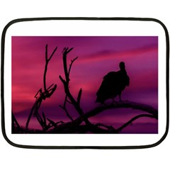Vultures At Top Of Tree Silhouette Illustration Fleece Blanket (mini) by dflcprints