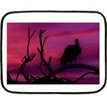 Vultures At Top Of Tree Silhouette Illustration Double Sided Fleece Blanket (Mini)