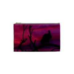 Vultures At Top Of Tree Silhouette Illustration Cosmetic Bag (small)  by dflcprints